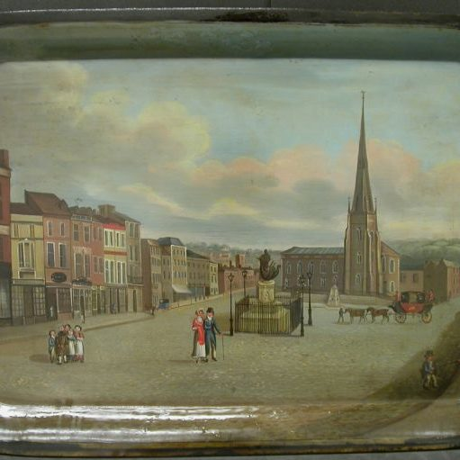 Japanned Tray - View of the Bull Ring, Birmingham Before Treatment