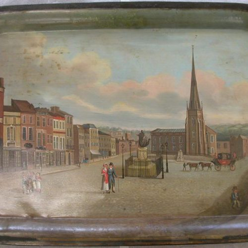 Japanned Tray - View of the Bull Ring, Birmingham After Treatment