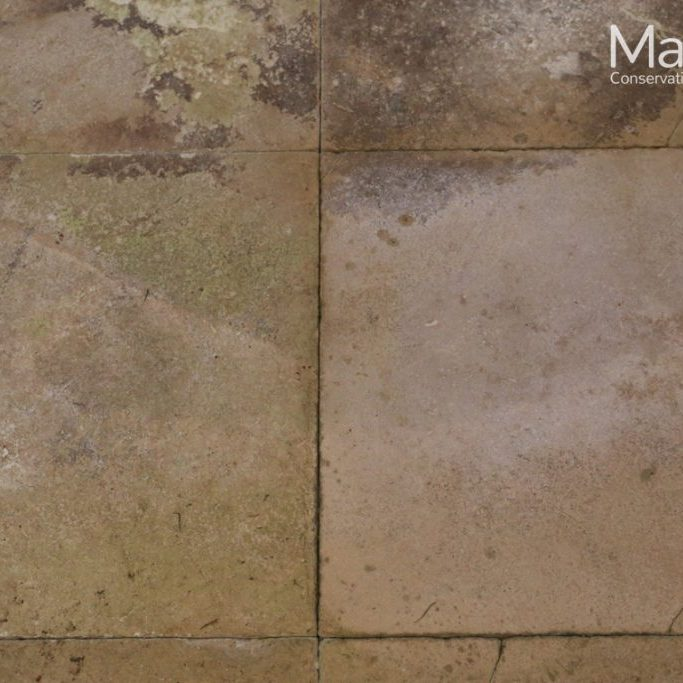 During treatment (left slab before cleaning, right slab after cleaning)